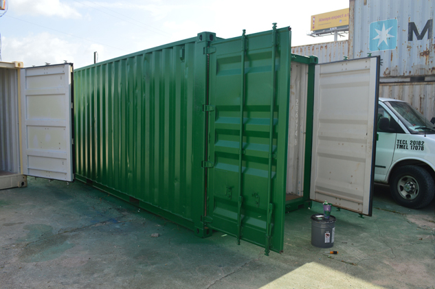 green_shipping_container