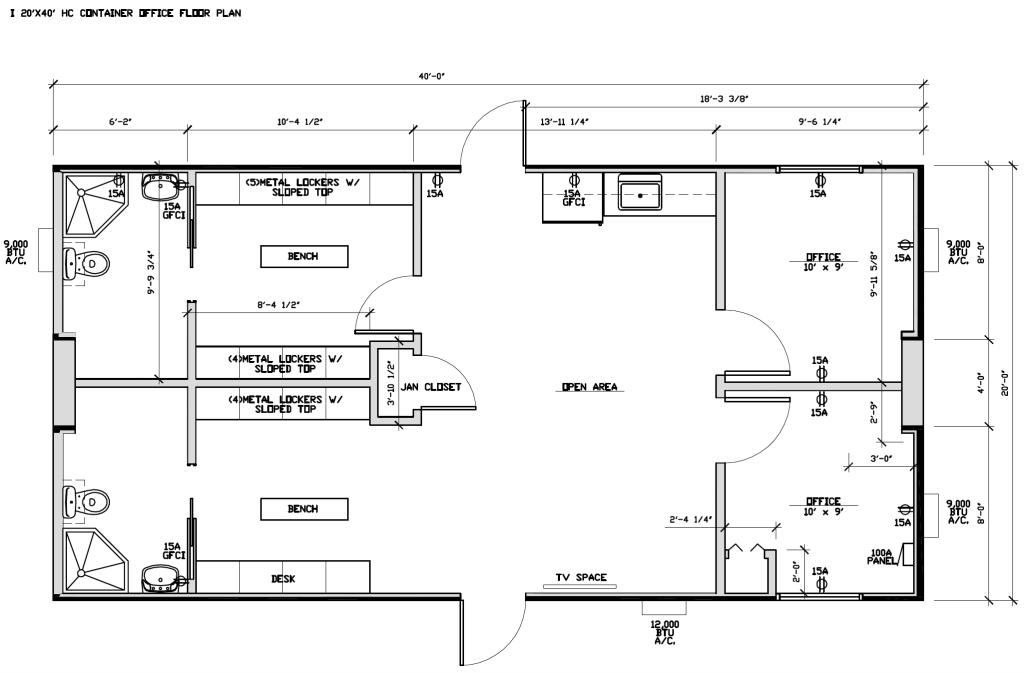 20x40 (2) Bath, (2) Office, (2) Locker Sets